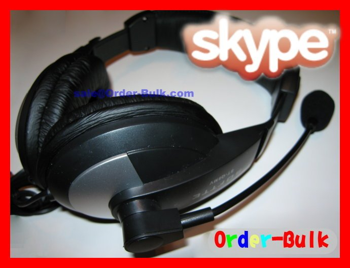 Computer PC Game Headset Headphone Microphone For Skype MSN VoIP Phone ( Super Bass)