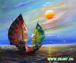 """Oil painting(Boat and Sea 24""""×36"""")"""