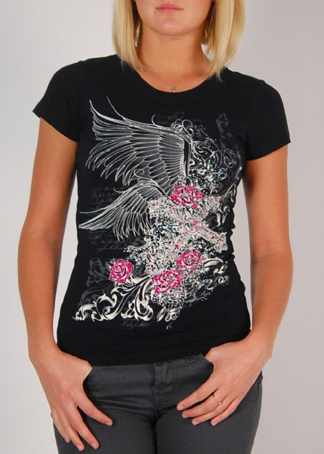 Black winged grapic tee