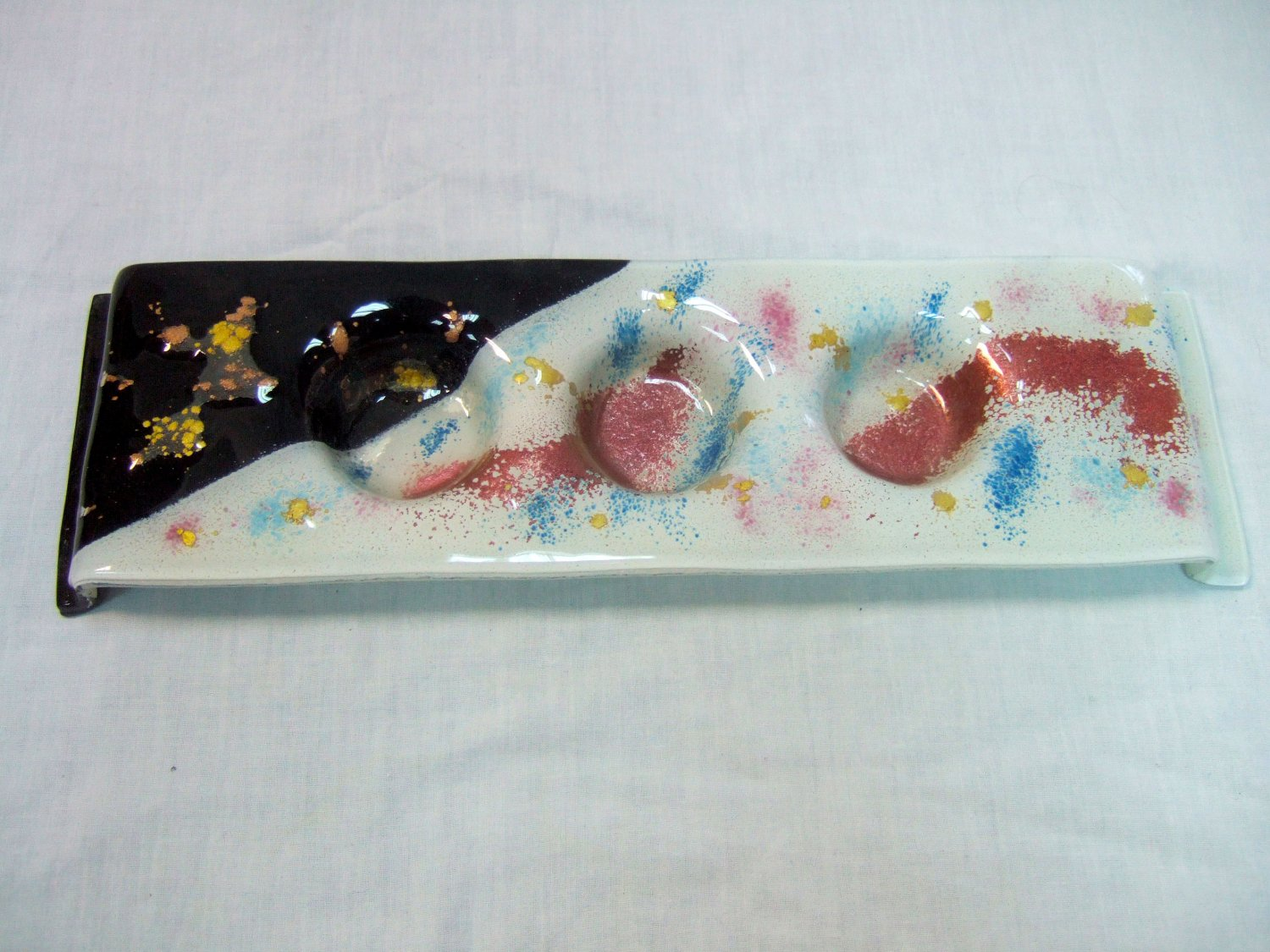 Fused glass candleholder