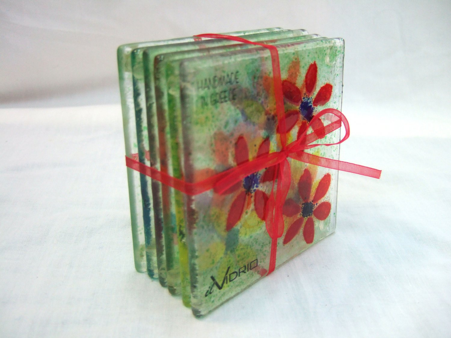 Fused glass flower coasters