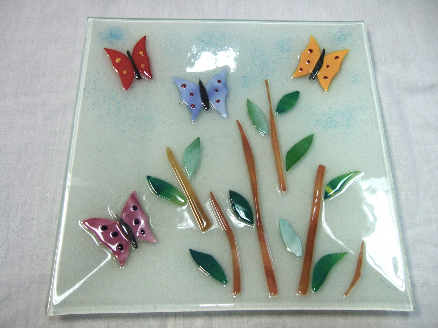 Large fused glass butterfly plate