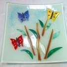 Small fused glass butterfly plate