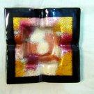 Fused glass metallic dust ashtray