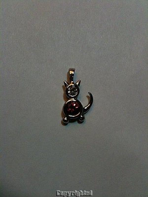 ESTATE 1.50ctw Red & Clear Cubic Zirconia Cat Pendant 925 SOLID Sterling Silver