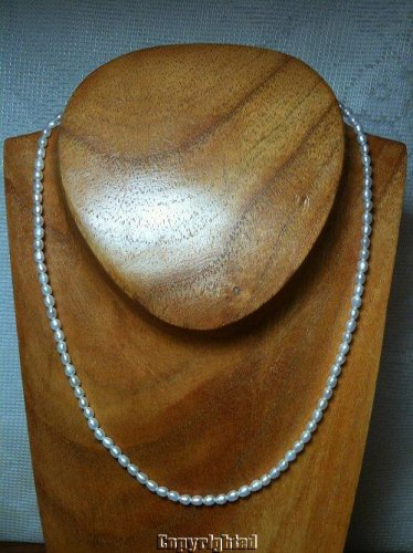 White Pearl Strand Necklace Adjustable 925 Sterling Silver Spring Ring Clasp