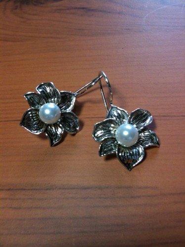 7mm Pearl Flower Design Dangle Earrings 925 Sterling Silver