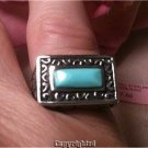 1.00ctw Turquoise Ornate Ring 925 Sterling Silver Size 6.5