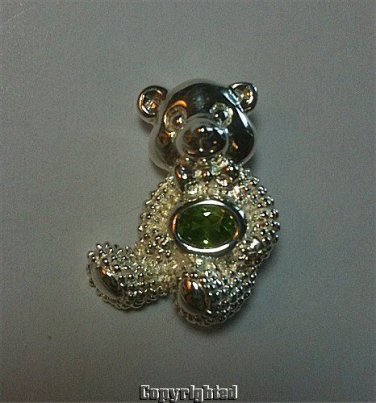 0.85ctw Peridot Combination Pin-Brooch & Pendant Bear Design 925 Sterling Silver