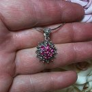 1.75ctw Magenta Cubic Zirconia & Marcasite Sliding Pendant 925 Sterling Silver