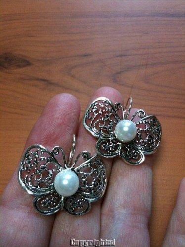 8mm Pearl Butterfly Design Dangle Earrings 925 Sterling Silver