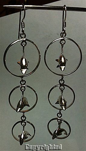 LONG Triple Circle and Dolphin Dangle Earrings 925 Sterling Silver 8.30 Grams