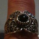 .925 Sterling Silver Black Onyx Ring Filigree Floral Design Sz 8 almost Sz 8.25