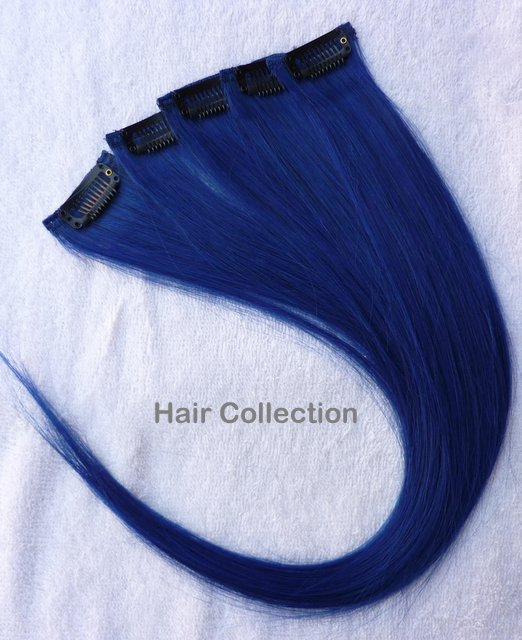 """12""""Blue Human Hair Clip in Extensions 5pcs"""