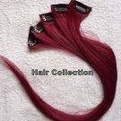 "18""Burgundy Human Hair Clip in Extensions 5pcs"