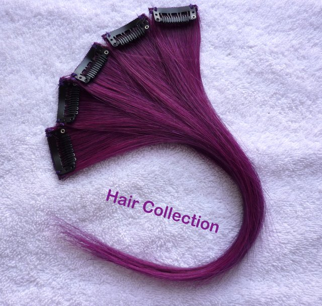 """12""""Purple Human Hair Clip in Extensions 5pcs"""
