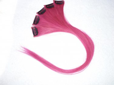"18""Hot Pink Human Hair Clip in Extensions 5pcs"