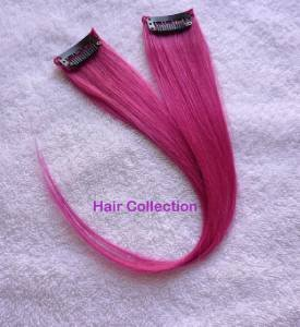 """12""""Hot Pink Human Hair Clip In Extensions for Highlight(2pcs)"""