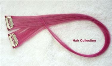 """18""""Pink Human Hair Clip In Extensions for Highlight (2pcs)"""