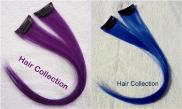 """12"""" 2 Blue & 2Purple -  Human Hair Clip In Extensions for Highlight"""