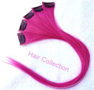 "18""Hot Pink Remy Human Hair Clip on in Extensions for Highlights(5pcs)"