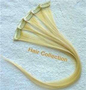 """18""""Blonde  Remy Human Hair Clip on in Extensions for Highlights(5pcs)"""