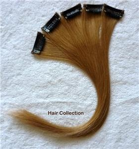 """12"""" #27 Strawberry Blonde Human Hair Clip In On Extensions for Highlights(5pcs)"""