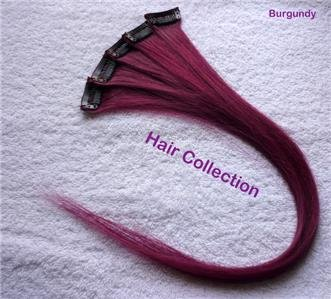 """18"""" Burgundy- Human Hair Clip on in Extensions for highlights(5 pcs)"""