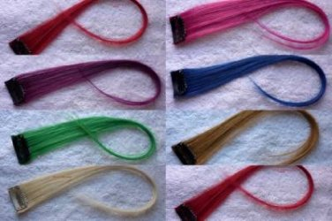 """12"""" Multi Color  Human Hair Clip on in Extensions for Highlights"""