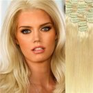 "20""#613 Blonde  Remy Human Hair Clip-In Extensions  Full Set- 9 pcs /130 grams"