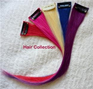 "12""Purple,Blue,Red,Pink,Blond, Human Hair Clip in Extensions for Highlight(5pcs)"