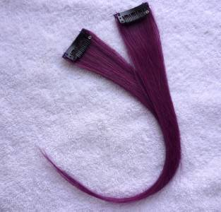 """Hair Collection - 12""""Purple Human Hair Clip On Extensions for Highlight (2pcs)"""