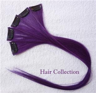"""18""""Purple Human Hair Clip-In Extensions for Highlights(5pcs)"""