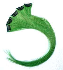 """18""""Green Human Hair Clip In On Extensions  for Highlights(5pcs)"""