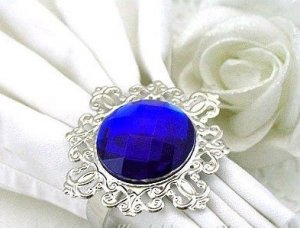 20 Vintage Stone Silver Royal Blue Napkin Ring