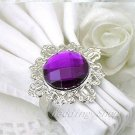 20 Vintage Stone Silver Purple Napkin Ring