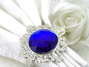 100 Vintage Stone Silver Royal Blue Napkin Ring