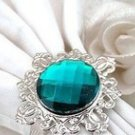 100 Vintage Stone Silver Teal Blue Napkin Ring