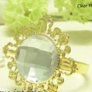 100 Vintage Stone Gold Clear Napkin Ring