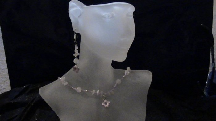 Rose Quarts  Necklace and Earing Set
