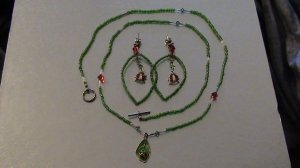Lady Bug Necklace and Earing Set