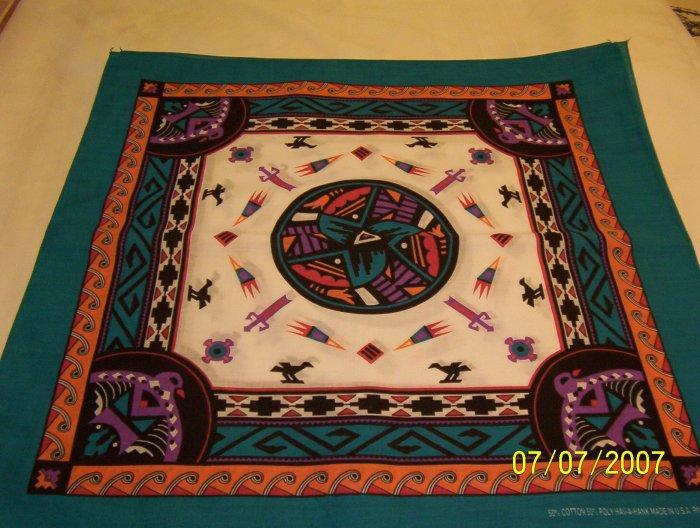 Aztec Design Bandana - Turquoise/White