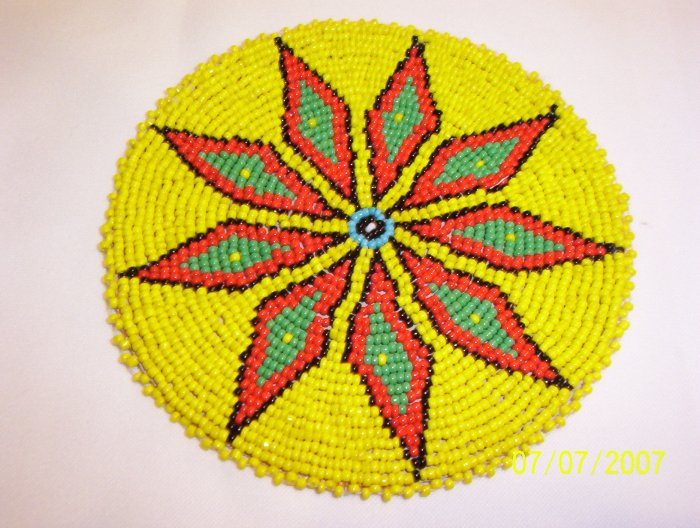 "Yellow w/ Red/Green Diamonds Rosette - 5"""