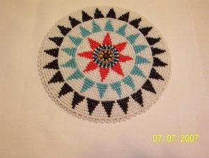 """White w/ Black/Light Blue Triangles Rosette - 5"""""""