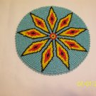 Turquoise w/ Yellow/Red Diamonds Rosette - 5""