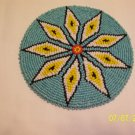 Turquoise w/ White/Yellow Diamonds Rosette - 5""
