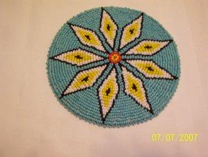 """Turquoise w/ White/Yellow Diamonds Rosette - 5"""""""