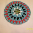 Turquoise w/ Red/Black Triangles Rosette - 5""