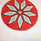 Red w/ White/Light Blue Diamonds Rosette - 5""