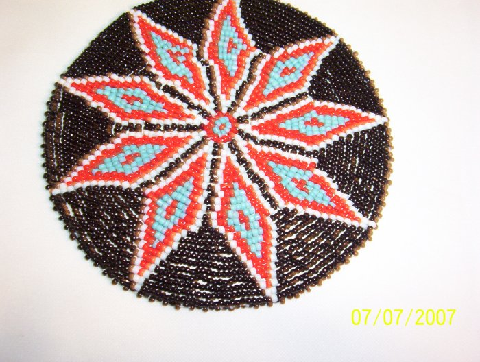 Black w/ Red Diamonds Rosette - 5""